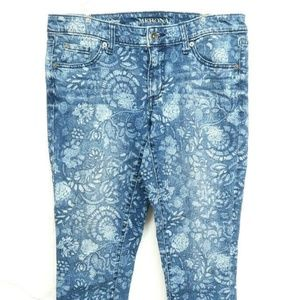 Merona Ankle Skinny Womens Floral Pattern Jeans Pa